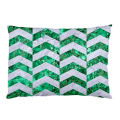 Chevron2 White Marble & Green Marble Pillow Case