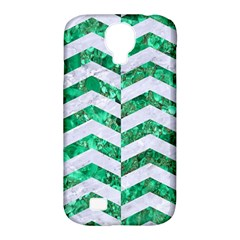 Chevron2 White Marble & Green Marble Samsung Galaxy S4 Classic Hardshell Case (pc+silicone)