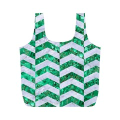 Chevron2 White Marble & Green Marble Full Print Recycle Bags (m)