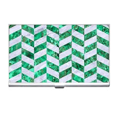 Chevron1 White Marble & Green Marble Business Card Holders