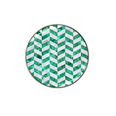 Chevron1 White Marble & Green Marble Hat Clip Ball Marker (10 Pack)