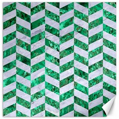 Chevron1 White Marble & Green Marble Canvas 16  X 16