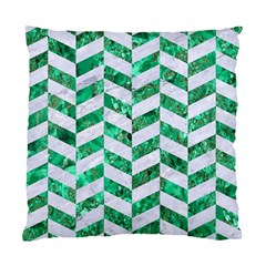 Chevron1 White Marble & Green Marble Standard Cushion Case (two Sides)