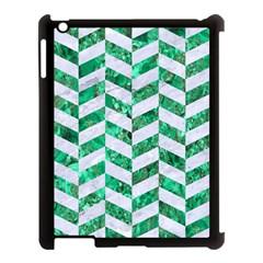 Chevron1 White Marble & Green Marble Apple Ipad 3/4 Case (black)