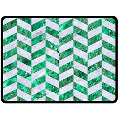 Chevron1 White Marble & Green Marble Double Sided Fleece Blanket (large)