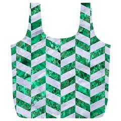 Chevron1 White Marble & Green Marble Full Print Recycle Bags (l)