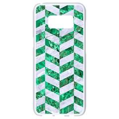 Chevron1 White Marble & Green Marble Samsung Galaxy S8 White Seamless Case