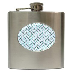 Brick2 White Marble & Green Marble (r) Hip Flask (6 Oz)