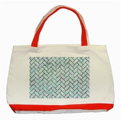 Brick2 White Marble & Green Marble (r) Classic Tote Bag (red)
