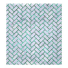 Brick2 White Marble & Green Marble (r) Shower Curtain 66  X 72  (large)