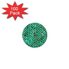 Brick2 White Marble & Green Marble 1  Mini Buttons (100 Pack)