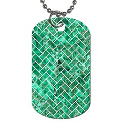 Brick2 White Marble & Green Marble Dog Tag (one Side) by trendistuff