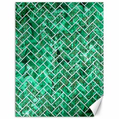 Brick2 White Marble & Green Marble Canvas 12  X 16