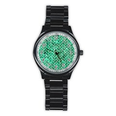 Brick2 White Marble & Green Marble Stainless Steel Round Watch
