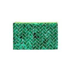 Brick2 White Marble & Green Marble Cosmetic Bag (xs)