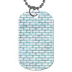 Brick1 White Marble & Green Marble (r) Dog Tag (one Side) by trendistuff