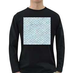 Brick1 White Marble & Green Marble (r) Long Sleeve Dark T Shirts