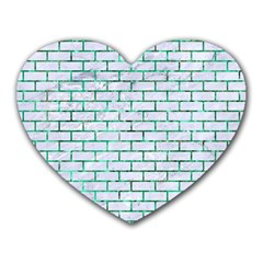 Brick1 White Marble & Green Marble (r) Heart Mousepads
