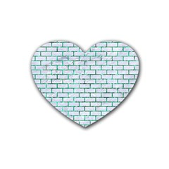 Brick1 White Marble & Green Marble (r) Rubber Coaster (heart)