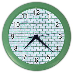 Brick1 White Marble & Green Marble (r) Color Wall Clock