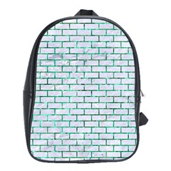 Brick1 White Marble & Green Marble (r) School Bag (xl)