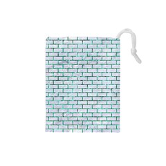 Brick1 White Marble & Green Marble (r) Drawstring Pouches (small)