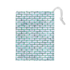 Brick1 White Marble & Green Marble (r) Drawstring Pouches (large)