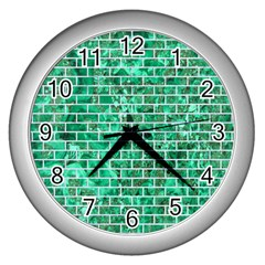 Brick1 White Marble & Green Marble Wall Clock (silver)