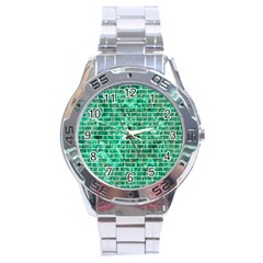Brick1 White Marble & Green Marble Stainless Steel Analogue Watch