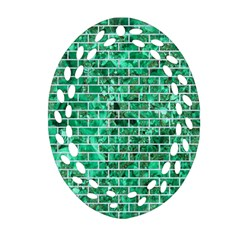 Brick1 White Marble & Green Marble Oval Filigree Ornament (two Sides)