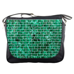 Brick1 White Marble & Green Marble Messenger Bags