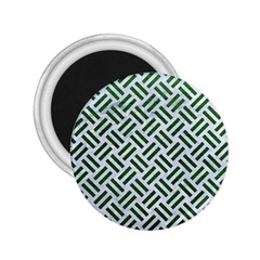 Woven2 White Marble & Green Leather (r) 2 25  Magnets