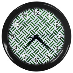 Woven2 White Marble & Green Leather (r) Wall Clock (black)