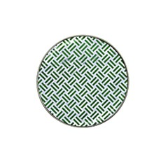 Woven2 White Marble & Green Leather (r) Hat Clip Ball Marker (10 Pack)