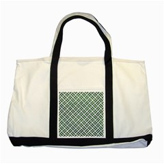 Woven2 White Marble & Green Leather (r) Two Tone Tote Bag