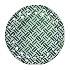 Woven2 White Marble & Green Leather (r) Ornament (round Filigree)