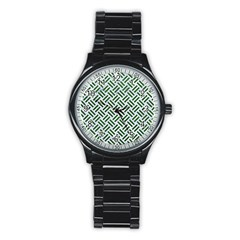 Woven2 White Marble & Green Leather (r) Stainless Steel Round Watch