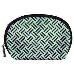 Woven2 White Marble & Green Leather (r) Accessory Pouches (large)