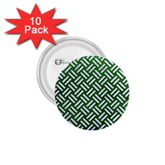 Woven2 White Marble & Green Leather 1 75  Buttons (10 Pack)