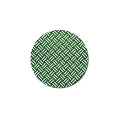 Woven2 White Marble & Green Leather Golf Ball Marker