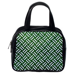 Woven2 White Marble & Green Leather Classic Handbags (one Side)