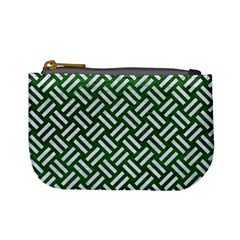 Woven2 White Marble & Green Leather Mini Coin Purses