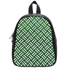 Woven2 White Marble & Green Leather School Bag (small)