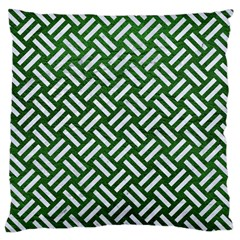 Woven2 White Marble & Green Leather Large Cushion Case (two Sides)