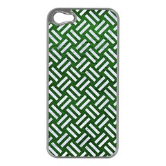 Woven2 White Marble & Green Leather Apple Iphone 5 Case (silver)