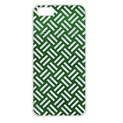 Woven2 White Marble & Green Leather Apple Iphone 5 Seamless Case (white)