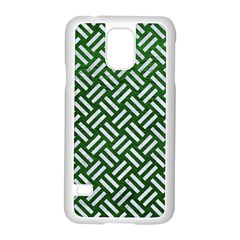 Woven2 White Marble & Green Leather Samsung Galaxy S5 Case (white)