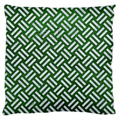 Woven2 White Marble & Green Leather Large Flano Cushion Case (two Sides)