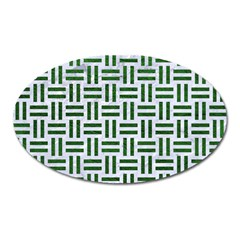 Woven1 White Marble & Green Leather (r) Oval Magnet