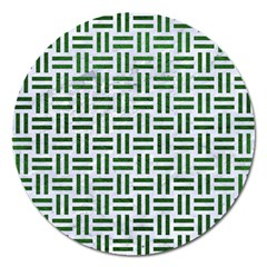 Woven1 White Marble & Green Leather (r) Magnet 5  (round)